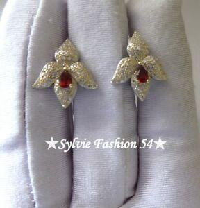 ???? Belles Boucles d'oreilles Argent 925 or relief orchidée Grenat et brillant zc