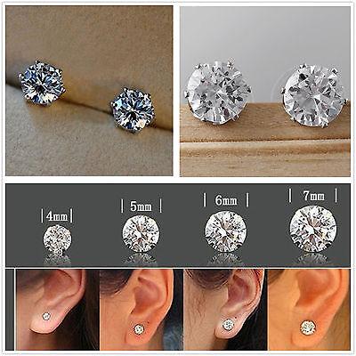 Silver Tone Clear Round Cubic Zirconia CZ Crystal Stud Earrings Men/Women Unisex
