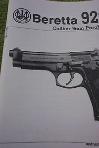 beretta 92fs 9mm pistol instruction owners manual 22 pages of info rh ebay com beretta m9 manual download beretta 92fs manuale