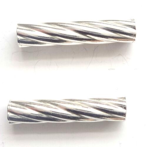 Tubo trenzado de plata esterlina 4 granos espaciador granos 15x3mm