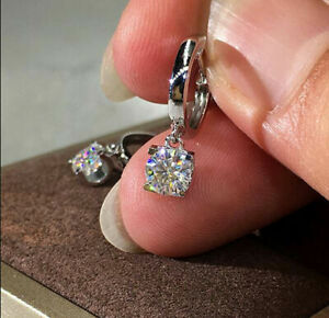 Certified-2-00-Ct-14K-White-Gold-Round-Cut-Moissanite-Drop-Dangle-Earrings