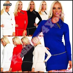 Sexy-Ladies-Jumper-Dress-Womens-Sequins-Pullover-with-Chain-One-Size-8-10-12-UK