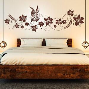 Details Zu Wandtattoo Blumen Ranke Schmetterlinge Floral Schlafzimmer Deko Idee Bild