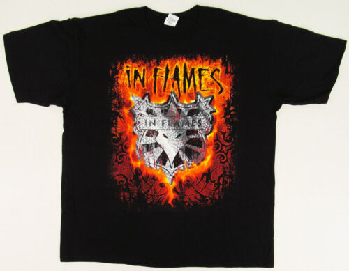 IN FLAMES SHIELD T-shirt Swedish Death Metal Concert Tour Tee Adult XL Black New