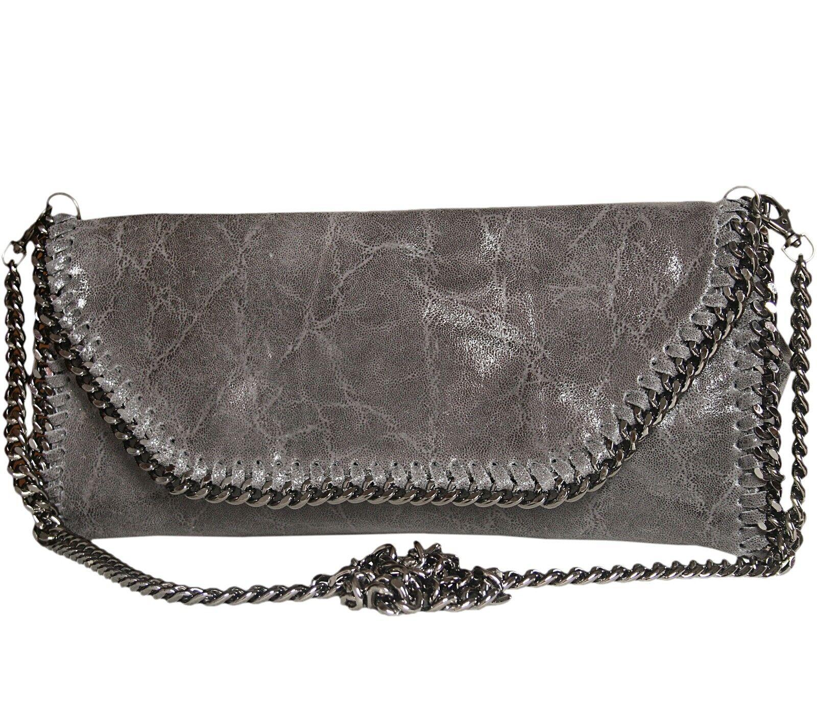 0fc417af24c27 Handtasche Handtasche Handtasche Abendtasche Leder Tasche Clutch weich Grau  Glitzer mit Kette verziert