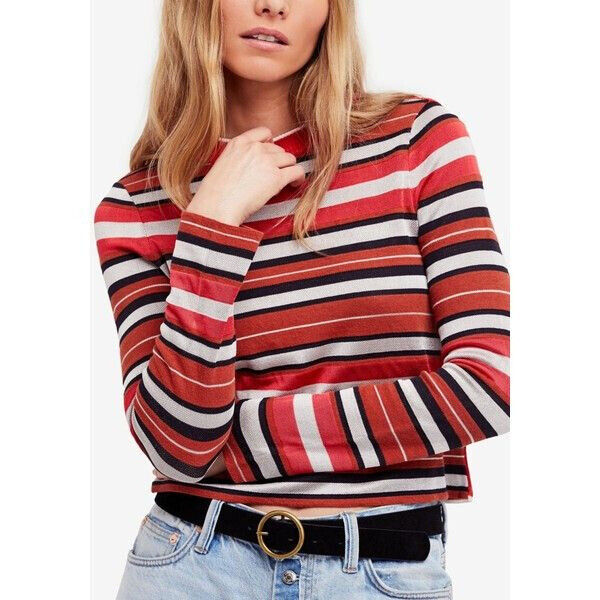 Free People Womens New Age Crew OB766154 Sweater Hot Pink Combo Multi Size XS