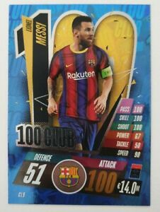 2020-21-Match-Attax-UEFA-Champions-League-Lionel-Messi-100-Club-Barcelona