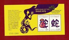 2013 Christmas Island Year of Snake Gold Overprint Roo 13 No.250 of 250 rare muh