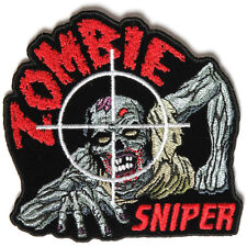 Embroidered Zombie Sniper Iron on Sew on Biker Patch Badge