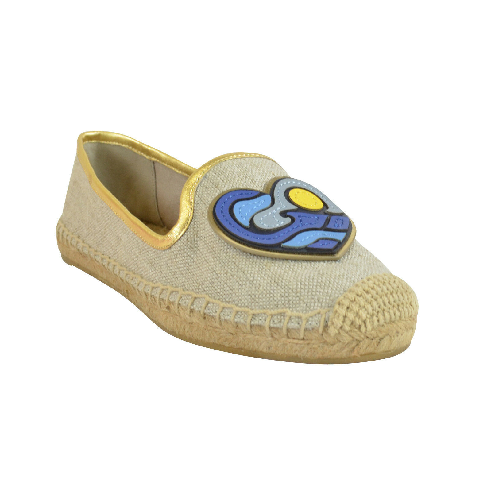 NIB Tory Burch Parrot Espadrille Flats Shoes Natural Gold 9