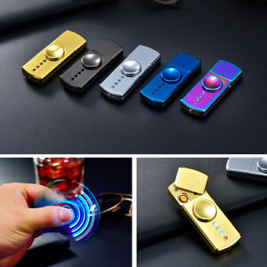 LED-USB-Windproof-Flameless-Rechargeable-Dual-Plasma-Lighter-Hand-Spinner-Fidget