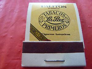 Rare-Vintage-Match-Book-Palitos-Cigarillos-Tabacos-La-Paz-Primeros-Cigarros
