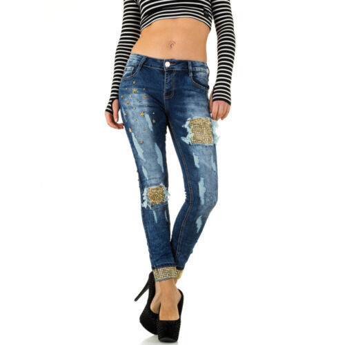 Damen Mozzaar Gemusterte Low Skinny Jeans 2149 Ital-design