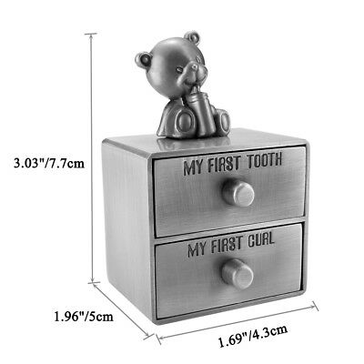 Metal Baby First Curl And First Tooth Box Container Cute Kids Keepsake Gift