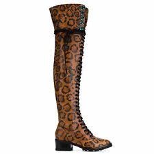 Sophia Webster Kelsey Leopard Boots Over The Knee Thigh Highs Heel Size 41 UK 8