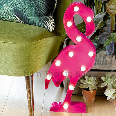 Flamingo LED Metal Wall Art Light Decoration Marquee Party Freestanding Battery
