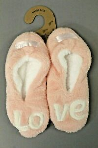 Faceplant Dreams Women/'s Footsies Love Slipper Pink Size Large 9-10