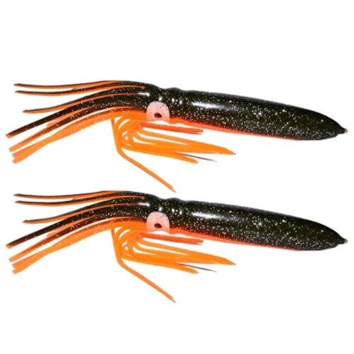 2PCS Soft Squid Fishing Lures Lifelike Squids Skirts Baits