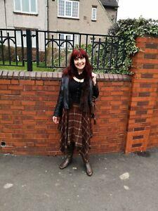 Ladies-brown-square-pattern-skirt-Used-Size-12-George