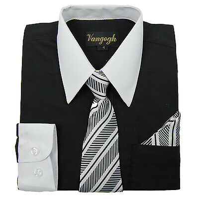 Boys Black Dress Shirt White Contrast Collar Tie Hankie Long Sleeve Size 4 to 20