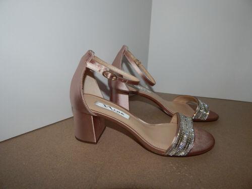 5 Roz Strass Esaurito Nina Satin Ankle 9 Strap 90 Leather Taupe Block Heel Pqqw5UZ