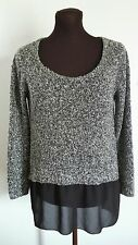Charming Charlie Sweater Size Medium M Black Gray Longsleeve Crew Neck Top