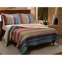 Beautiful Blue Teal Purple Green Red Bohemian Southwest Country Quilt Set