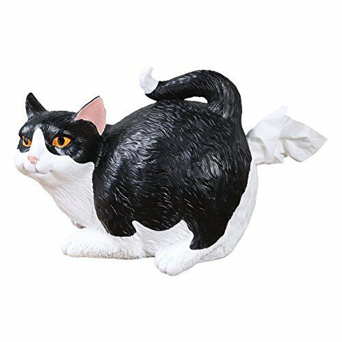 Cat Butt Tissue Holder  Black /& White Tuxedo  Fits Standard Tissue Box  Resin