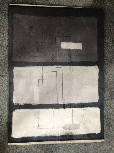 Velvet Feel Moderne Abstrait Noir Gris Argent//Blanc Tapis 90 cm x 63 cm-Caoutchouc Arrière