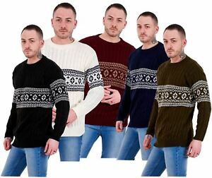 Mens-New-Cable-Knit-Jacquard-Long-Sleeve-Pullover-Jumper-Sweater-S-to-XL