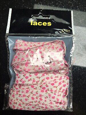 Focoso Le Ragazze Scarpe Spessi Lacci, 2 Coppie, 110cm, Nuovo In Pacchetto, Rosa Floreale-mostra Il Titolo Originale In Molti Stili