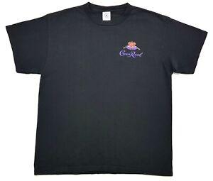 Vintage-Crown-Royal-Whisky-Logo-Tee-Black-Size-Large-Mens-Work-T-Shirt