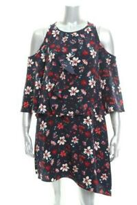 New-Women-039-s-Rachel-Zoe-Printed-Cold-Shoulder-Ruffle-Dress-Floral-Print-XS