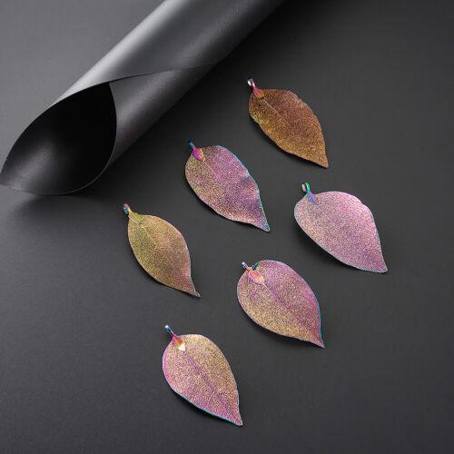 10PCS KT NATURALE FILIGRANA FOGLIA GRANDE Ciondoli multi-colore placcato