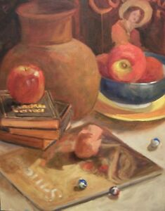 COWGIRL-DREAMS-16x20-oil-on-canvas-Margaret-Aycock-NR-Still-Life-w-Red-Brown