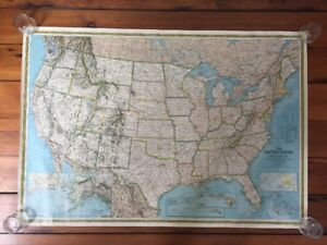 Vintage 1986 National Geographic United States Contiguous States USA ...