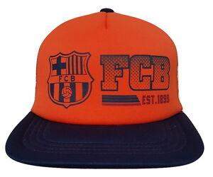 59de33e5ca1 FC Barcelona Orange Hat Cap New With Tags by Rhinox Flat Brim ...