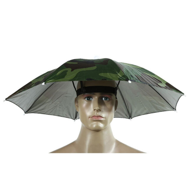 2ea9f5b6ad2 Elastic Headband Camouflage Pattern Sun Rain Umbrella Hat Cap for Fishing  nEW