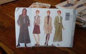 Oop-Butterick-5087-misses-jean-jacket-vest-front-buttoned-skirt-sz-16-22-NEW