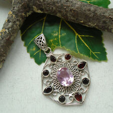 Kunzit & Granat, rosa, rot, Stern, Anhänger, Amulett, 925 Sterling Silber, neu
