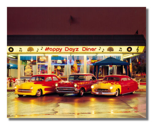Old 1950 Cars with Flames Happy Dayz Diner Photo Wall Picture 8x10 Art Print