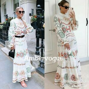 Zara-New-White-Embroidery-Ruffled-Maxi-Voluminous-Dress-Size-S