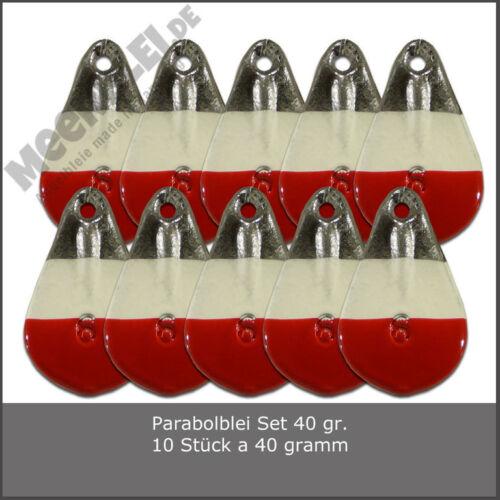 Gewicht 40 gr. -/> Rot-Weiss /> Parabol Blei Set 10 Stück Angelblei