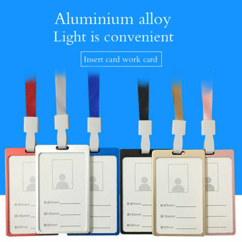 Aluminum Alloy Credit ID Card Badge Tag Holder Pass Case with Neck Strap Lanyard