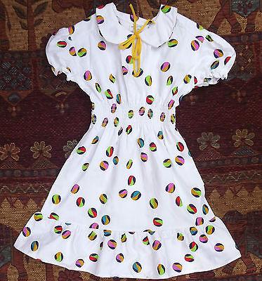 Girls summer dress Vintage 1970s UNUSED bright beach ball COTTON repp 5-6 10-11