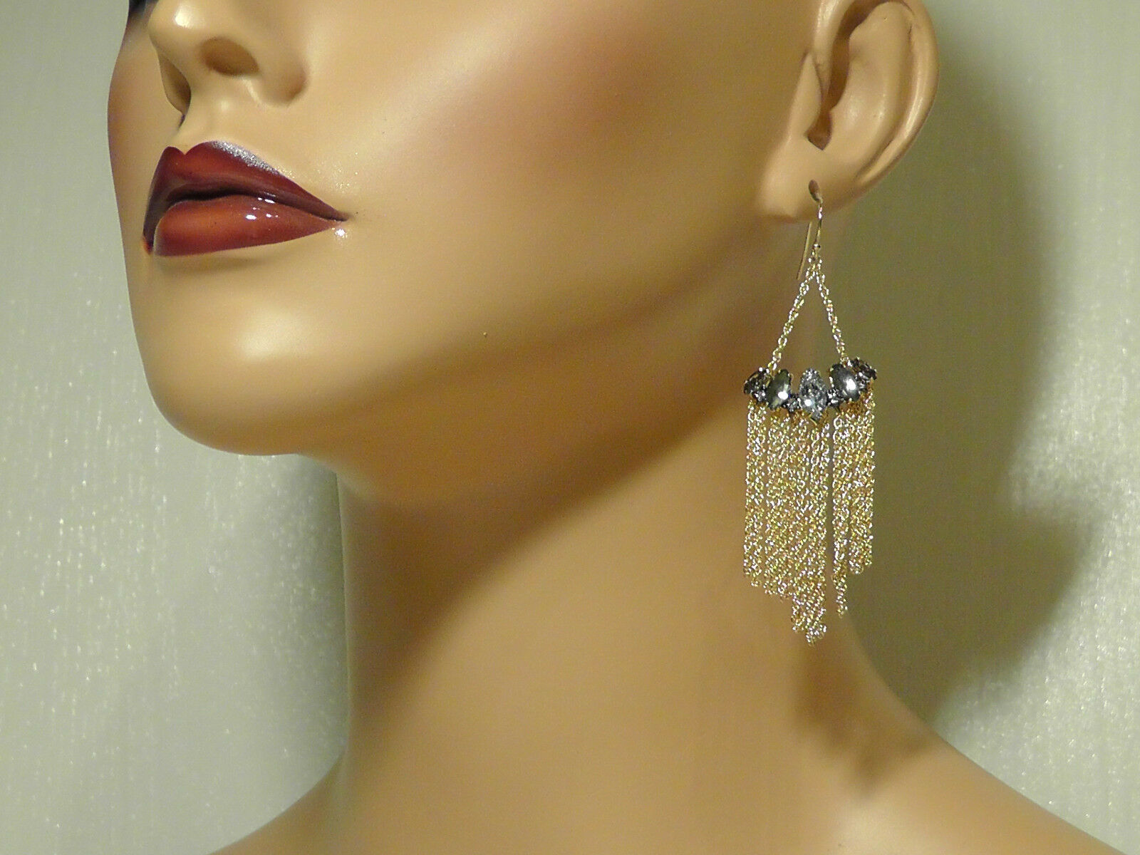 Alexis Bittar gold Elements Fringe Marquise Wire Drop Earrings.NEW