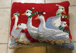Throw-Pillow-White-Geese-Winter-Embroidered-Scarves-Hats-Red-19-5-x-15-5-x-6