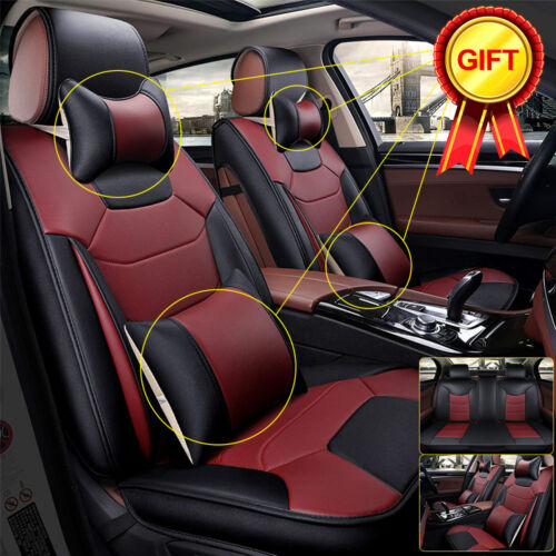 Size M Car Seat Cover Microfiber Leather 5-Seats Front /& Rear W//Pillows Burgundy