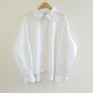 NWT $150 Suku Home Women's Night Shirt Blouse White Button Up Frill Size 18