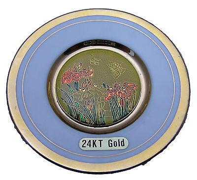 """""""The Art of Cloisonne"""" 1987 Plate Made in Japan 24L Gold Plated Flowers Ceramic"""